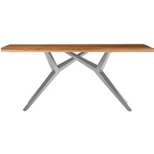 SIT TISCHE & BÄNKE Tisch, 240x100 cm, Platte Teak, Gestell Metall antiksilbern