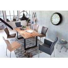 SIT TISCHE & BÄNKE Tisch 80 x 80 cm, Gestell schwarz, Platte natur mit Baumkante wie gewachsen Platte natur, Gestell antikschwarz