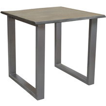 SIT TISCHE & BÄNKE Tisch 80 x 80 cm, Gestell silbern, Platte grau mit Baumkante wie gewachsen