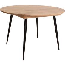 Tom Tailor Tisch 120 cm rund Platte Mango, Beine Metall Platte natur, Beine schwarz 12819-01
