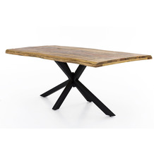 SIT TOPS & TABLES Tischplatte 100x220 cm Mango massiv, Baumkante wie gewachsen natur