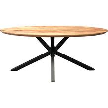SIT TOPS & TABLES Tischplatte 220x100 cm oval, mit Facettkante, Plattenstärke 36 mm natur