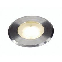 SLV DASAR FLAT LED 230V Bodenein- baustrahler, rund, 4,3W LED, warmweiss, Edelstahlblende edelstahl gebürstet
