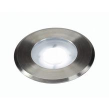 SLV DASAR FLAT LED 230V Bodenein- baustrahler, rund, 4,3W LED, weiss, Edelstahlblende edelstahl gebürstet