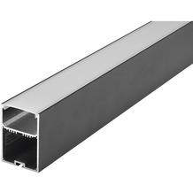 SLV GLENOS Profi-Profil 4970-200, mit Cover, mattschwarz, 2m schwarz matt