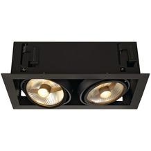 SLV KADUX 2 ES111 Downlight, eckig, mattschwarz, max. 2x75W schwarz matt