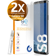 smart engineered [2x] 3D Schutzfolie Samsung Galaxy S8 Matt (entspiegelt) Front (Display) SET inkl. Nano-Versiegelung