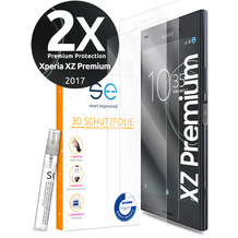 smart engineered [2x] 3D Schutzfolie Sony Xperia XZ Premium Transparent (Klar) Front (Display) im SET inkl. Nano-Versiegelung