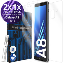 smart engineered 3D Schutzfolien für Samsung Galaxy A8, 2x Premium HD Displayschutzfolien, 1x Folie Rückseite [FULLBODY SET]