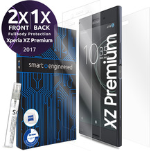 smart engineered 3D Schutzfolien für Sony Xperia XZ, 2x Premium HD Displayschutzfolien, 1x Folie Rückseite [FULLBODY SET]