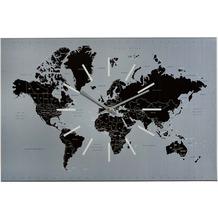 Sompex WORLD Wanduhr 60x40x2cm, Metall, silb,