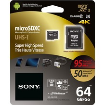 Sony microSDXC Card 64GB, Expert, Class 10, UHS-I 95MB/s, 633x, inkl. SD-Card Adapter, Retail-Blister