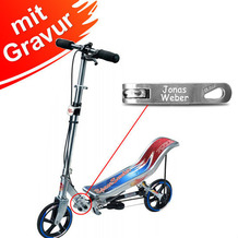 Space Scooter Space Scooter X580 silber/blau MIT GRAVUR (z.B. Namen)