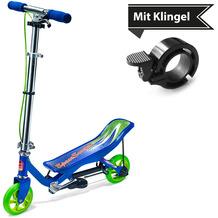 Space Scooter X360 blau Junior + Tretroller & Scooterklingel