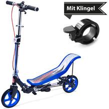 Space Scooter X590 Deluxe blau - bis 120 kg für Kinder und Erwachsene + Tretroller & Scooterklingel