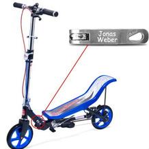 Space Scooter X590 Deluxe blau MIT GRAVUR (z.B. Namen) bis 120 kg für Kinder und Erwachsene
