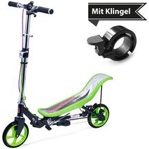 Space Scooter X590 Deluxe grün - bis 120 kg für Kinder und Erwachsene + Tretroller & Scooterklingel