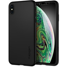 Spigen Thin Fit 360 Case + Glass Screen Protector for iPhone XS Max black