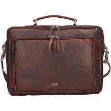 Spikes & Sparrow Aktentasche Leder 37 cm Laptopfach mit Rucksackfunktion darkbrown