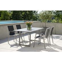 Stern Kufentisch 180x90 cm Aluminium graphit mit Tischplatte Silverstar 2.0 Dekor Zement