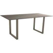 Stern Kufentisch 180x90 cm Aluminium taupe mit Tischplatte Silverstar 2.0 Dekor Eiche natur