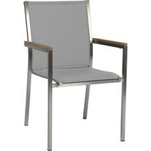 Stern Stapelsessel Polaris Edelstahl mit Bezug Textilen kaschmir/Teakarmlehnen FSC®-zertifiziert 2er Set