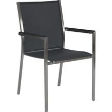 Stern Stapelsessel Polaris Edelstahl mit Bezug Textilen silbergrau und Aluminiumarmlehnen schwarz 2er Set
