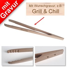 Sterngraf Grillzange aus Holz MIT GRAVUR (z.B. Grill & Chill)