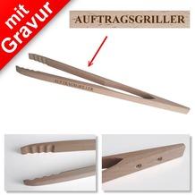 Sterngraf Grillzange mit Gravur z.B. AUFTRAGSGRILLER - Profi 48cm aus Holz