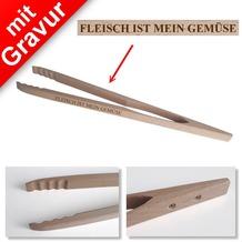 Sterngraf Grillzange mit Gravur z.B. FLEISCH IST MEIN GEMÜSE - Profi 48cm aus Holz