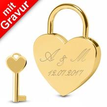 Sterngraf Liebesschloss Herz Farbe gold MIT GRAVUR (z.B. Initialen + Datum) Herzschloss Schloss