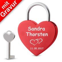 Sterngraf Liebesschloss Herz rot  MIT GRAVUR (z.B. Namen + Datum + 2Herzen) Herzschloss Schloss