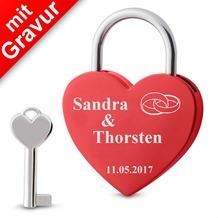 Sterngraf Liebesschloss Herz rot  MIT GRAVUR (z.B. Namen + Datum + Ringe) Herzschloss Schloss