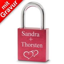 Sterngraf Liebesschloss rot MIT GRAVUR (z.B. Namen + Datum + 2 Herzen) Herzschloss Schloss
