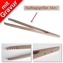 Sterngraf Profi-Grillzange mit Gravur (z.B. Namen) 48cm aus Holz
