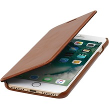 Stilgut Book Type Case ohne Clip  für iPhone 7 Plus, cognac