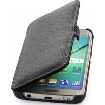 Stilgut Leder-Hülle BookCover für Samsung Galaxy S6 Edge, schwarz