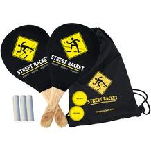 Street Racket Set mit zwei Holzschlägern, zwei Softbällen & Kreide