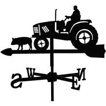 SvenskaV Wetterfahne Traktor, Stahlblech, schwarz pulverbeschichtet, klein