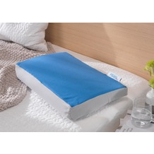 Theraline Bezug für PEARLfusion Kopfkissen Standard 50x32x12 cm aus BIO -Baumwolle Jersey Grau/Mittelblau-Kombi (Dessin 95)