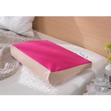 Theraline Bezug für PEARLfusion Kopfkissen Standard 50x32x12 cm aus BIO -Baumwolle Jersey Cappuccino/Fuchsia-Kombi (Dessin 98)