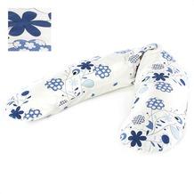 Theraline Stillkissen inkl. Außenbezug Blumenranke blau/weiss 190 x 38 cm (Dessin 57)