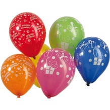 "TIB Heyne Luftballons mit Druck ""Geschenke"", Umfang 40 cm, Ø15 cm, bunt gem., 100 Stück"
