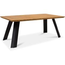 TINGO LIVING BALI Gartentisch, 180x90/76 cm, Teak natur/matt-schwarz