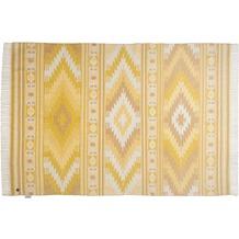 Tom Tailor Vintage-Handwebteppich Kelim Colors I gelb 140 cm x 200 cm