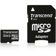 Transcend microSDHC Class 4, 32GB + SD-Adapter