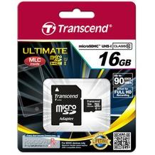 Transcend microSDHC Class10 UHS-I 600x Karte mit Adapter 16GB