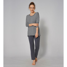 Triumph Stripes Pyjama (Strickware), Langarm STRIPES 01 pebble grey 38
