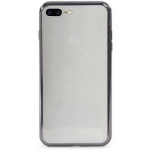 Tucano Elektro Flex, transparente Silikonhülle mit farbigem Rand für iPhone 7 Plus, schwarz