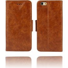 Twins Kunstleder Flip Case für iPhone 6, braun